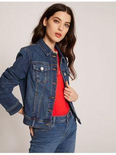 Morgan Kurtka jeansowa 201-VPOM.N Granatowy Regular Fit