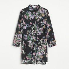 Reserved - Wzorzysta koszula z EcoVero™ - Czarny