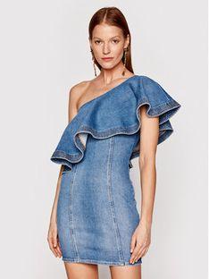 Elisabetta Franchi Sukienka jeansowa AJ-19D-11E2-V380 Niebieski Slim Fit