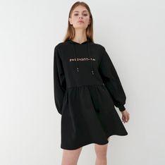 Mohito - Dresowa sukienka z kapturem - Czarny