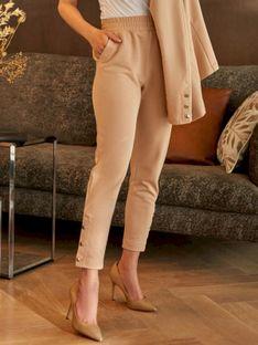Damskie beżowe spodnie dresowe z ozdobnymi nogawkami L'AF ROKEL