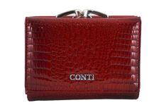 Mały portfel damski lakierowany - CROCO - Czerwony