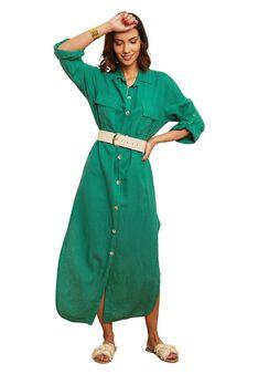 Le Monde du Lin - Długa sukienka - zielony
