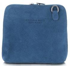 Małe Torebki Skórzane Listonoszki firmy Vittoria Gotti  wykonane w całości z Zamszu Naturalnego Jeansowe (kolory)