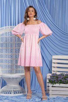 Różowa Bawełniana Sukienka w Hiszpańskim Klimacie