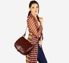 Duża torebka włoska na długim pasku MAZZINI - Toscania Classico brązowa