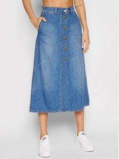 Lee Spódnica jeansowa Button Through L38TNAHN Niebieski Regular Fit