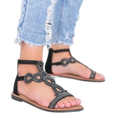 Czarne sandały ozdobione cyrkoniami Cersi