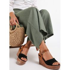 Sandały damskie czarne Renee na platformie na lato bez wzorów z klamrą eleganckie