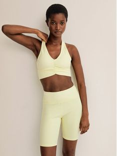 Mango Szorty sportowe Lindsay 87097624 Żółty Slim Fit
