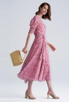 Sukienka maxi z kopertowym dekoltem