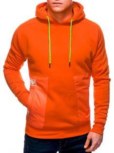 Bluza męska z kapturem 1243B - pomarańczowa