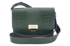 Modna torebka skórzana - CROCO - Zielona ciemna