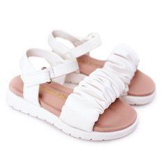FR1 Dziecięce Sandały Na Rzep Białe Aimy