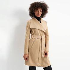 Mohito - Płaszcz z wiązaniem w talii - Beżowy