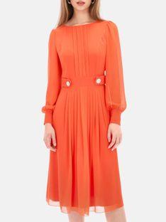 Pomarańczowa wizytowa sukienka z zakładkami Potis & Verso QUEEN
