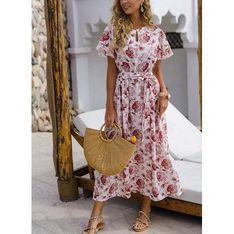 Sukienka Sandbella wielokolorowa midi z krótkimi rękawami