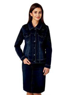 Jeansowa kurtka z haftem na rękawach Potis & Verso NAIRI