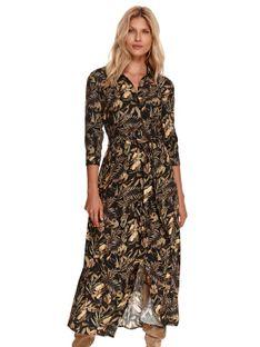 Koszulowa sukienka maxi z roślinnym nadrukiem