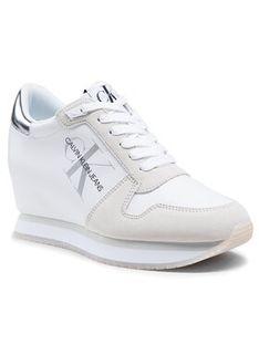 Calvin Klein Jeans Sneakersy Wedge Sneaker Laceup YW0YW00081 Biały