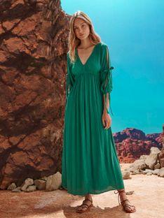 Sukienka maxi z wiązaniami na rękawach