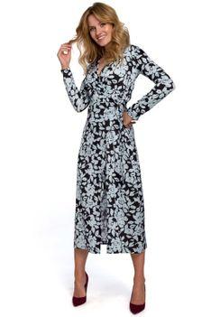Kopertowa Sukienka w Kwiaty Wiązana na Boku - Model 4