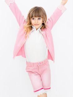 Różowy sweterek dziecięcy wykończony koronką Anima by Justyna Steczkowska