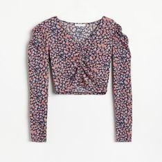 Reserved - Krótka bluzka z bufiastymi rękawami - Wielobarwny