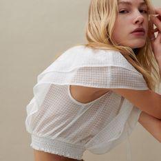 Reserved - Bluzka ze strukturalnej tkaniny - Kremowy
