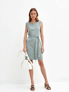 Gładka sukienka bez rękawów, z wiązaniem w pasie