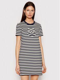 Tory Burch Sukienka codzienna Striped Logo 81506 Granatowy Regular Fit