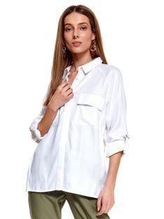 Biała koszula z podwijanymi rękawami