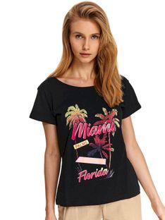 Luźny t-shirt z nadrukiem i paseczkami z tyłu na plecach