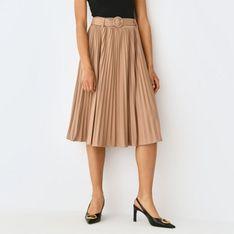 Mohito - Plisowana spódnica z paskiem - Kremowy