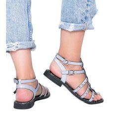 Niebieskie metaliczne sandały gladiatorki Xana