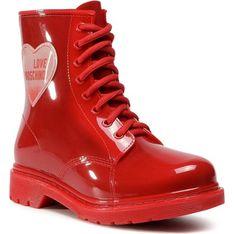Kalosze damskie Love Moschino czerwone bez zapięcia na jesień z gumy