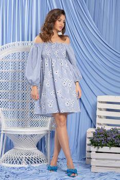 Błękitna Bawełniana Sukienka w Hiszpańskim Klimacie
