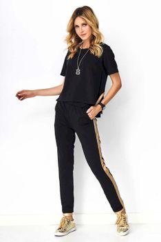 Czarno Złoty Komplet Dresowy Bluzka z Koronką i Spodnie z Lampasami