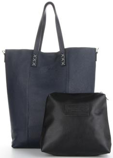 Vittoria Gotti Uniwersalne Torebki Skórzane do noszenia na co dzień Firmowy Shopper Made in Italy w rozmiarze XL Granat (kolory)