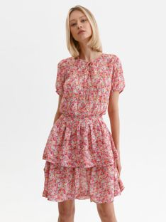 Printowana sukienka z falbanką