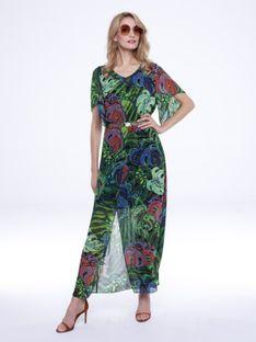 Długa sukienka w tropikalny wzór L`AF TAMI