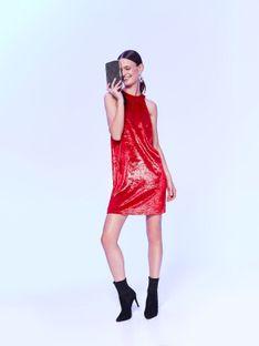 Czerwona sukienka na imprezę, z weluru z połyskiem