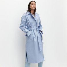Reserved - Bawełniany trencz - Niebieski