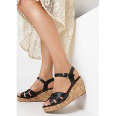 Sandały damskie Born2be z klamrą skórzane