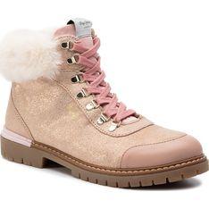 Buty zimowe dziecięce Pepe Jeans różowe trapery sznurowane