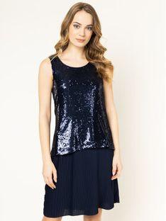 Trussardi Sukienka koktajlowa Paillettes 56D00332 Granatowy Regular Fit