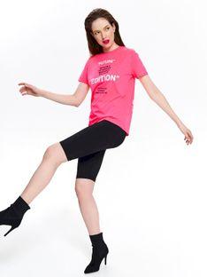 Neonowy t-shirt damski z nadrukiem