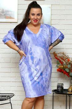 Sukienka dresowa dzianinowa oversize DONNA tie dye fioletowa PROMOCJA