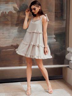 Sukienka damska 015DLR - beżowa