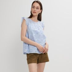 Mohito - Ażurowa bluzka z falbaną - Niebieski